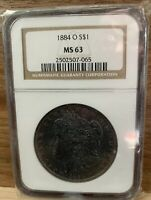 1884 O S $1 MINT STATE 63 NGC