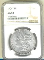 1904-P - MORGAN SILVER $1  NGC MINT STATE 63  - BEAUTIFUL LUSTRE - LOOKS BETTER