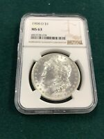 1904 O MORGAN DOLLAR NGC MINT STATE 63