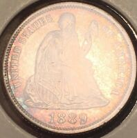 1889-P GEM PROOF  ONLY 711 MINTED SEATED LIBERTY DIME Z3