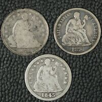 1839, 1845, 1876 SEATED LIBERTY DIMES, AG-FINE, RAW, 3 COINS