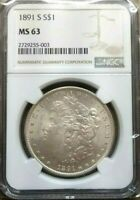 1891-S MORGAN SILVER DOLLAR NGC MINT STATE 63.