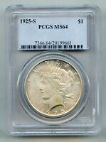 1925 S PEACE SILVER DOLLAR PCGS MINT STATE 64