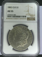 1882 O/S VAM 4 MORGAN SILVER DOLLAR NGC AU55  DIFFICULT TO FIND VARIETY