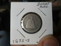 1875 S LIBERTY SEATED TWENTY CENT PIECE SILVER COIN 20 CENTS