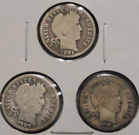 BARBER DIMES   BETTER DATE CULLS   SET OF 3 COINS   1901 S /