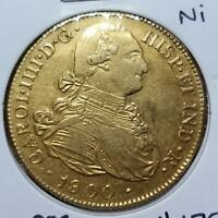 COLOMBIA 1800 NI SPANISH COLONIAL GOLD 8 ESCUDOS CHARLES IV
