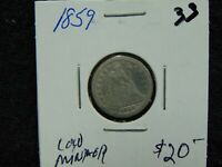 1859 LOW MINTAGE SEATED LIBERTY DIME