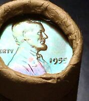 1955 P    TONED ENDS  SEALED OBW LINCOLN BU ROLL WHEAT CENT
