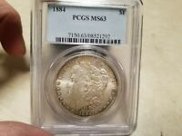 1884  PCGS MINT STATE 63  $1 MORGAN SILVER DOLLAR GRADED WITH CASE