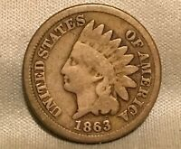 1863 INDIAN HEAD CENT  S 5  SEVENTH FEATHER BAR  SNOW VARIETY