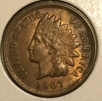 1907 INDIAN HEAD CENT  IN AU CONDITION
