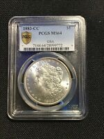 1883 CC PCGS MINT STATE 64. 9772 MORGAN SILVER DOLLAR GOLD SHIELD LIGHT TONING