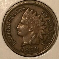 1899 INDIAN HEAD CENT SNOW VARIETY 8TH FEATHER DIE CHIP