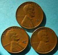 1942-P 1942-D 1942-S LINCOLN WHEAT CENTS  3 COINS  SHIPS FREE