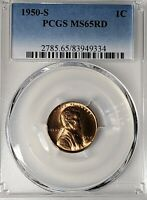 1950-S PCGS MINT STATE 65RD 1C LINCOLN WHEAT CENT UNCIRCULATED CERTIFIED COIN