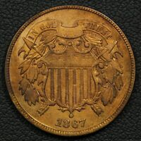 1867 COPPER TWO CENT PIECE - CLEANED