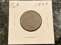 1806 DRAPED BUST HALF CENT     SMALL 6    STEMLESS  VF ESTAT