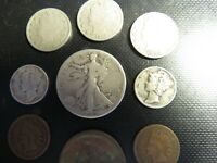 90  SILVER LOT OF 9 COINS   V NICKELS   INDIAN HEAD   LARGE