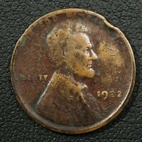1922 D LINCOLN WHEAT CENT COPPER PENNY - DAMAGE