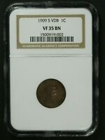 1909 S VDB LINCOLN WHEAT CENT COPPER PENNY NGC VF 35 BN