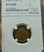 1909 S VDB LINCOLN WHEAT CENT,  STRIKE, GREAT EYE APPEAL, NGC GRADED EXTRA FINE  45