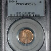 1929-S  LINCOLN CENT, MINT STATE 63 RED PCGS