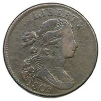 1803 S 256 R 3 SM DATE SM FRAC DRAPED BUST LARGE CENT COIN 1