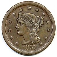1857 LG DATE BRAIDED HAIR LARGE CENT COIN 1C