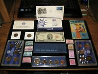 JUNK DRAWER COIN LOT 1966 SILVER MINT SET PROOF SET OLD STAM