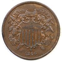 1866 TWO CENT COPPER COIN 2C