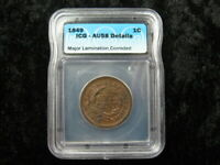 LAMINATION ERROR GRADED COIN USA LARGE CENT 1849 AU58 DETAIL