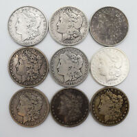 LOT OF 9 MORGAN SILVER DOLLAR COINS A10