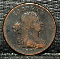 1807 1/2 HALF CENT  F FINE  DRAPED BUST  NOW CHOICE COIN VF TRUSTED