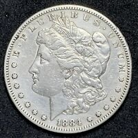 1884 S MORGAN DOLLAR SILVER CIRCULATED COIN VAM 2S MINT MARK SHIFTED LEFT 698