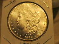 PRISTINE BU 1890-S MORGAN  A BEAUTIFUL COIN WITH A CLEAN CHEEK   CHQ