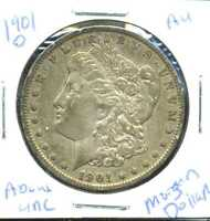 1901 O AU MORGAN DOLLAR ABOUT UNCIRCULATED 90SILVER COIN OLD $1 AUCTION CCW286