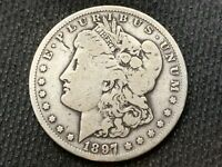 1897-S MORGAN DOLLAR   F VF        3 OR MORE  FREE S/H      90 SILVER   A736
