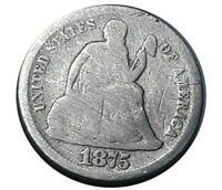 1875 UNITED STATES SEATED LIBERTY SILVER DIME