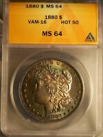 1880/1879 MORGAN SILVER DOLLAR ANACS MINT STATE 64 VAM 16 EDS WITH GREAT COLOR