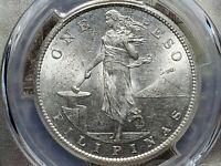 1907S PESO U.S. PHILIPPINES KM 172.PCGS CERTIFIED MS 62 EXCE