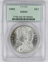 1885 MORGAN SILVER DOLLAR PCGS MINT STATE 64 OLD GREEN HOLDER - GREAT LUSTER - CJ006