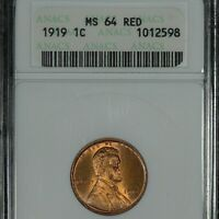 1919 LINCOLN CENT, MINT STATE 64 RED, ANACS
