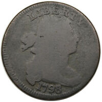 1798/7 DRAPED BUST LARGE CENT, S-151, R3, G DETAIL