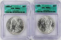 1883-O & 1886 2-COIN MORGAN DOLLAR SET ICG MINT STATE 61 - BLAST WHITE - PQ - CJ031