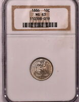 1886 10C SEATED DIME NGC MINT STATE 63