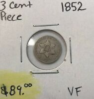 1852 THREE 3 CENT PIECE SILVER TRIME