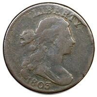 1803 S-243 R-2 STEMLESS DRAPED BUST LARGE CENT COIN 1C