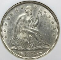1874, 50 CENT, SEATED LIBERTY, . NGC  AU 58, BEAUTIFUL COIN