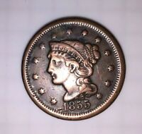 1855 BRAIDED HAIR LARGE CENT UPRIGHT 55